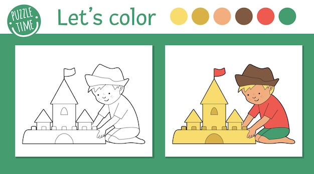 Summer coloring page for children. cute funny kid building sandcastle. beach holidays outline. sea vacation color book for kids with colored version and example