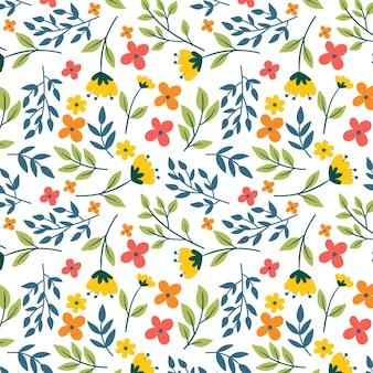 夏のカラフルな花柄のテンプレート