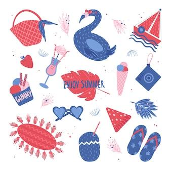 夏のコンセプトです。メガネ、アイスクリーム、カクテル、船、フラミンゴ、イチゴなどのかわいい夏のアイテム。漫画のスタイルの白い背景の上。