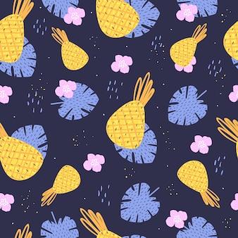 여름 개념. 파인애플과 잎 패턴입니다. 어두운 배경에.