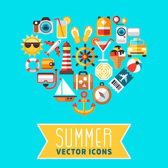 Summer concept with flat beach vector icons in heart form. icon for summer travel, illustration of s