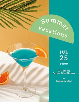 Summer concert flyer template with tropical background