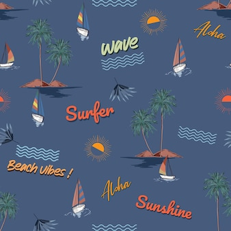 Summer conversational beach island ,wave ,elements seamless pattern ,vector eps10 ,design for fashion , fabric, textile, wallpaper, cover, web , wrapping and all prints on dark ocean blue