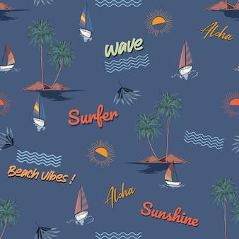여름 대화형 해변 섬, 파도, 요소 원활한 패턴, 벡터 eps10, 패션, 직물, 섬유, 벽지, 표지, 웹, 포장 및 짙은 바다색의 모든 인쇄를 위한 디자인