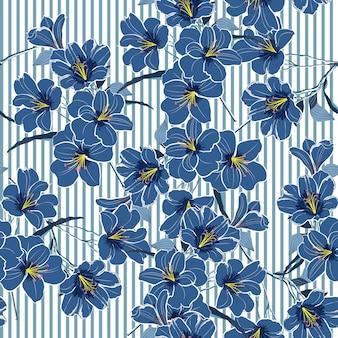 Summer cool blue blooming flowers