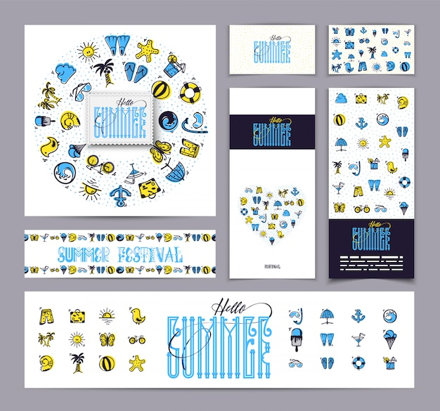 Summer corporate identity and icon set