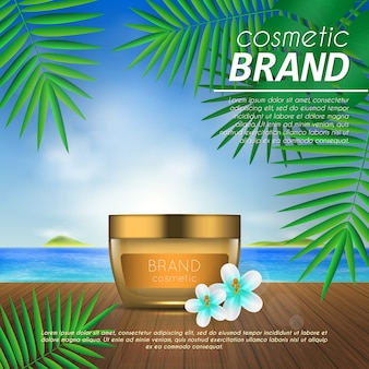 Summer cosmetic template on beach background with palm leaves.