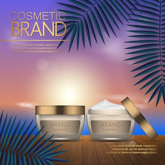 Summer cosmetic template on the sunset beach