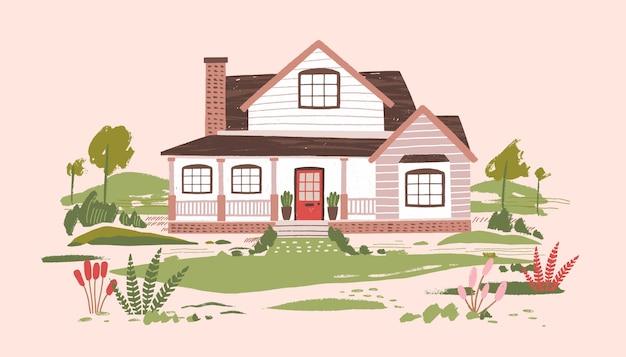 Дача или красивый двухэтажный загородный жилой дом с верандой в окружении красивой природы и цветущих растений.