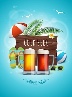 Summer craft beer poster. two beer mugs on the summer background.