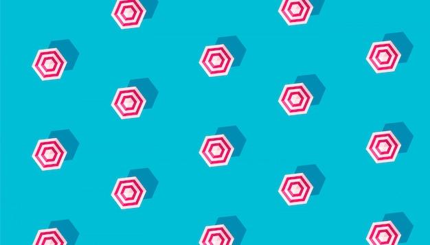 青色の背景に分離されたパラソルと夏の創造的なパターン。