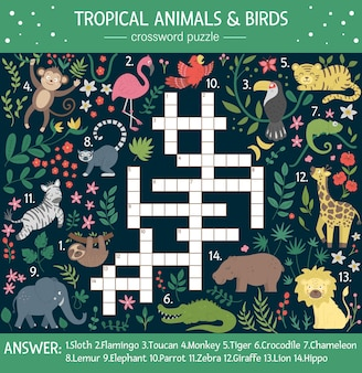 Summer crossword puzzle for kids. quiz with tropical animals and birds for children. educational jungle activity with cute funny characters
