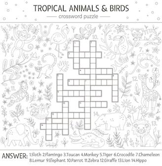 夏のクロスワードパズル。子供のための熱帯の動物や鳥とのクイズ。かわいい面白いキャラクターとの教育的な白黒のジャングル活動。子供のための楽しいぬりえ