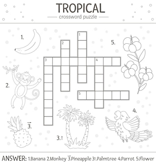 Summer crossword puzzle. quiz with tropical elements for children. educational black and white jungle activity with cute funny characters. fun coloring page for kids