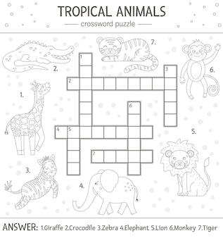 Summer crossword puzzle. simple quiz with tropical animals for children. educational black and white jungle activity with cute funny characters. fun coloring page for kids