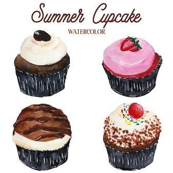 夏のカップケーキ食品水彩イラスト