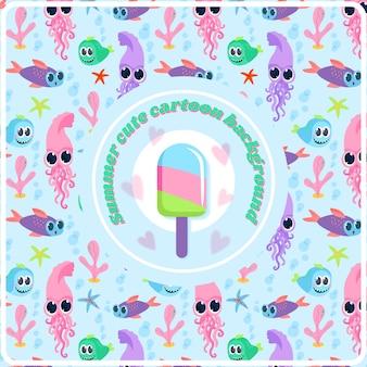 Summer cute cartoon background
