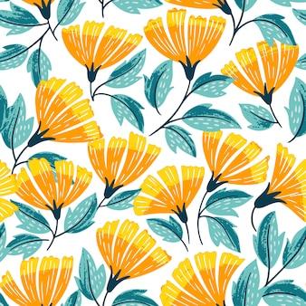 Summer cute flowers seamless pattern