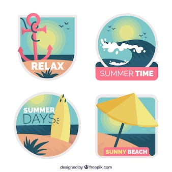 Summer cute label collection in flat design