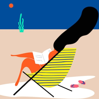 해변에서 여름날 무료 벡터