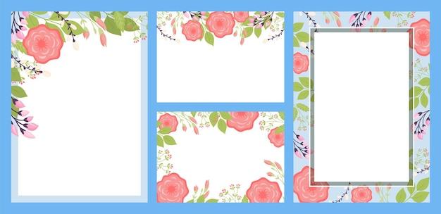 ヴィンテージ花アート招待セットベクトルイラスト自然と装飾的なフレームと夏の装飾...