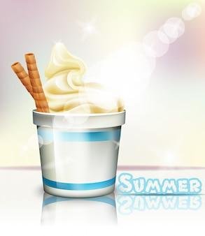 Летний вкусный замороженный йогурт и мороженое