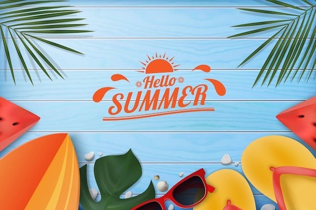Summer design on blue wood table background. decorated by slippers, palm leaves, sunglasses, surfboard, seashell, watermelon.