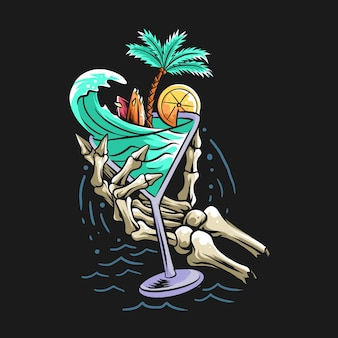 Summer design concept beach skull hand holding a glass filled with sea waves, coconut trees and a surf board