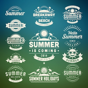 夏のデザイン要素と記号活版印刷ラベルとバッジ