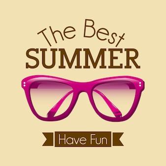 Summer design over pink background vector illustration