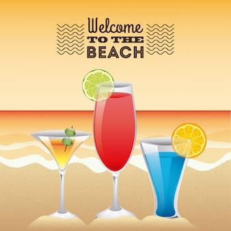 Summer design over sky background vector illustration