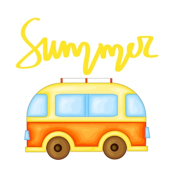 Летний дизайн наклейка с летними элементами и ручными буквами слов. отлично подходит для принтов на футболках, сумок и покупок, ткани, открыток, плакатов и интернета. - вектор автобус.