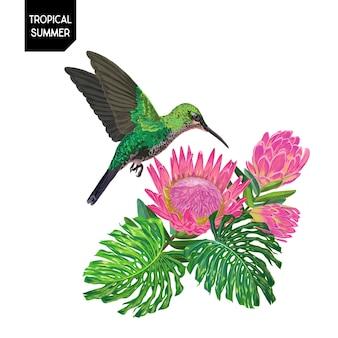 벌 새와 꽃으로 여름 디자인