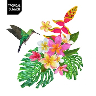 Summer design with hummingbird and flowers