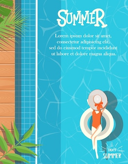 Summer design with swimming pool background