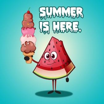 수박 조각 만화 캐릭터와 여름 디자인