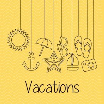 Summer design over yellow background vector illustration
