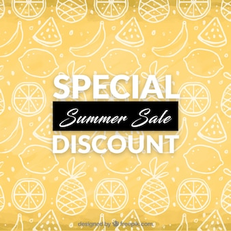 Summer discount background with fruit drawing