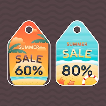 Summer discounts labels in gradient style