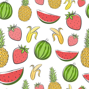 Summer doodle cartoon fruits, seamless pattern