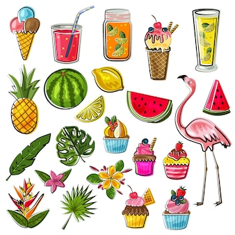 Summer doodle collection set with fruits, animals and drinks