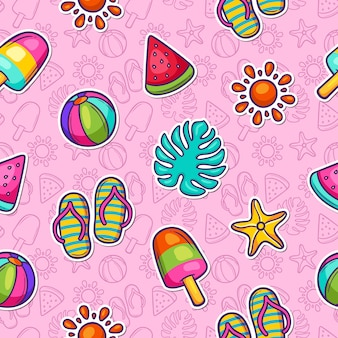 Summer doodle colorful seamless pattern