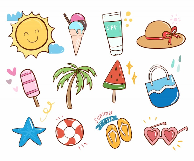 Summer doodle cute collection item cartoon vector.