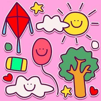 Summer doodle design illustration