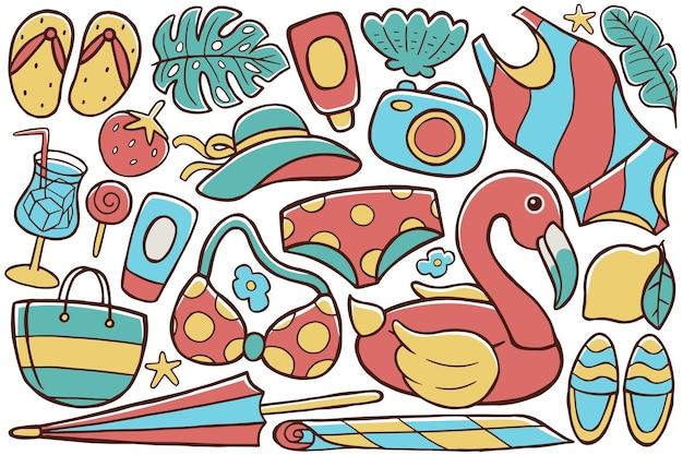 Summer doodle in flat illustration style Premium Vector