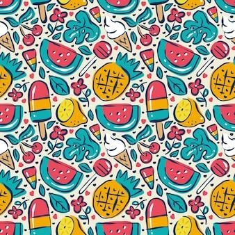 여름 낙서 음식 완벽 한 패턴