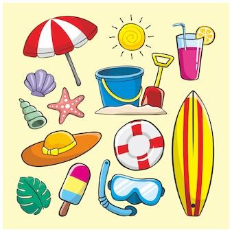 Summer doodle illustration element icon set