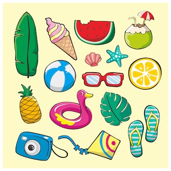Summer doodle illustration element set
