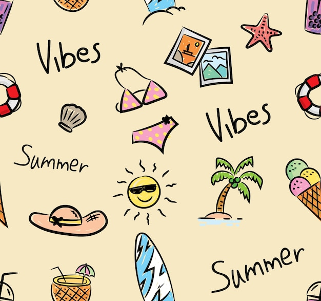 Summer doodle seamless background