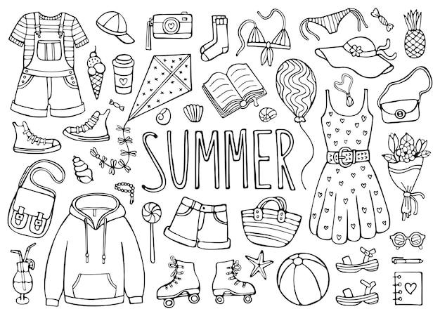 白い背景で隔離の服や要素の夏の落書きセット